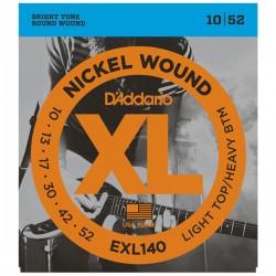 D'Addario EXL140 Set di Corde Rivestite in Nickel per Chitarra Elettrica, Light Top/Heavy Bottom, 10-52