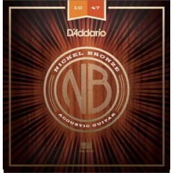 D'ADDARIO NB1047 SET CORDE NICKEL/BRONZO PER CHITARRA ACUSTICA (10-47) X-LITE